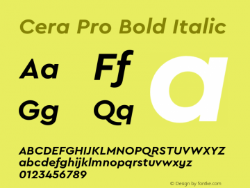CeraPro-BoldItalic Version 6.0 | wf-rip DC20180515图片样张