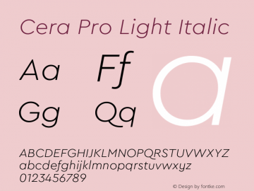 CeraPro-LightItalic Version 6.0 | wf-rip DC20180515图片样张