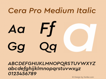 CeraPro-MediumItalic Version 6.0 | wf-rip DC20180515图片样张