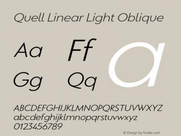 QuellLinear-LightOblique Version 1.000;PS 001.000;hotconv 1.0.88;makeotf.lib2.5.64775图片样张