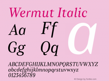 Wermut-Italic Version 1.000图片样张