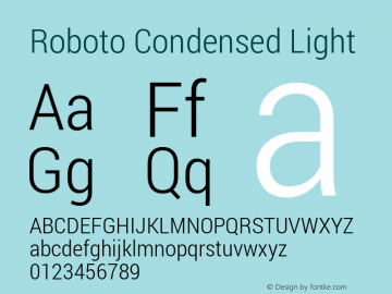 Roboto Condensed Light Version 1.100138; 2012 Font Sample