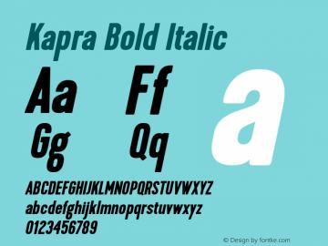 Kapra-BoldItalic Version 1.000;PS 001.001;hotconv 1.0.56图片样张