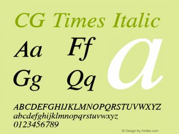 CG Times Italic Version 1.00图片样张