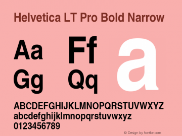 Helvetica LT Pro Bold Narrow Version 2.000 Build 1000图片样张
