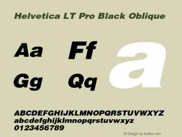 Helvetica LT Pro Black Italic Version 1.00 Build 1000图片样张
