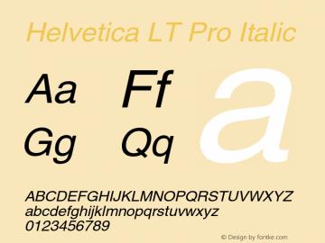Helvetica LT Pro Italic Version 2.000 Build 1000图片样张
