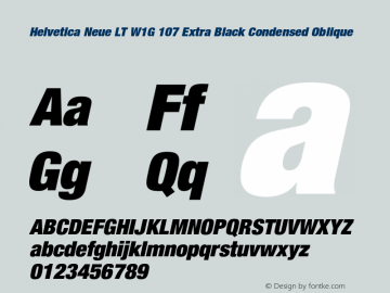 HelveticaNeueLTW1G-XBlkCnO Version 1.000 Build 1000图片样张