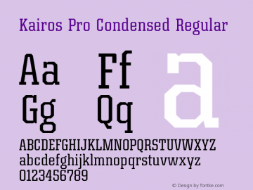 Kairos Pro Condensed Regular Version 1.00图片样张