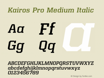 Kairos Pro Medium Italic Version 1.00图片样张