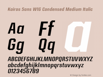 Kairos Sans W1G Cn Medium It Version 1.00图片样张