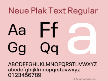 Neue Plak Text Regular Version 1.10, build 13, s3图片样张
