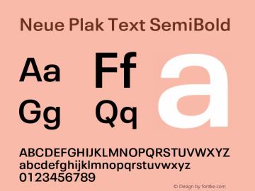 Neue Plak Text SemiBold Version 1.10, build 13, s3图片样张