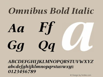 Omnibus Bold Italic Version 1.00图片样张