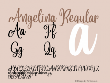 Angelina Version 1.00;September 8, 2018;FontCreator 11.5.0.2427 64-bit图片样张