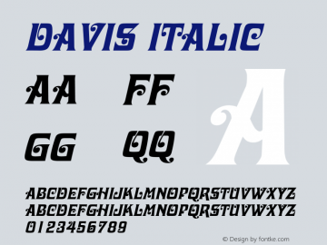 Davis Italic 1.0 Wed Jul 28 03:14:30 1993 Font Sample