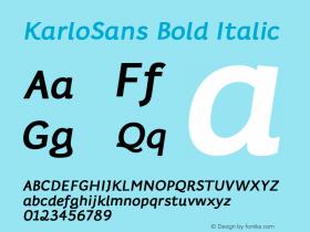 KarloSans BoldItalic Version 001.000 Dec 2017图片样张