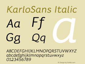 KarloSans Italic Version 001.000 Dec 2017图片样张