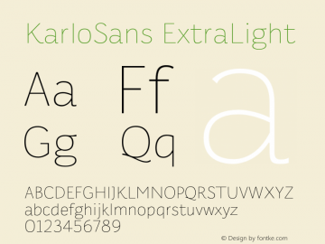 KarloSans ExtraLight Version 001.000 Dec 2017图片样张