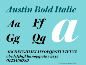 Austin Bold Italic Version 1.001;September 17, 2018;FontCreator 11.5.0.2421 64-bit图片样张