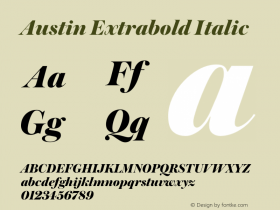 Austin Extrabold Italic Version 1.001;September 17, 2018;FontCreator 11.5.0.2421 64-bit图片样张