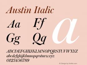 Austin Italic Version 1.001;September 17, 2018;FontCreator 11.5.0.2421 64-bit图片样张