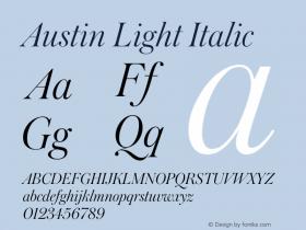 Austin Light Italic Version 1.001;September 17, 2018;FontCreator 11.5.0.2421 64-bit图片样张
