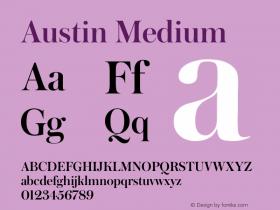 Austin Medium Version 1.001;September 17, 2018;FontCreator 11.5.0.2421 64-bit图片样张