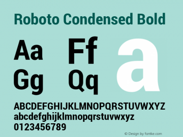 Roboto Condensed Bold Version 1.100138; 2012 Font Sample