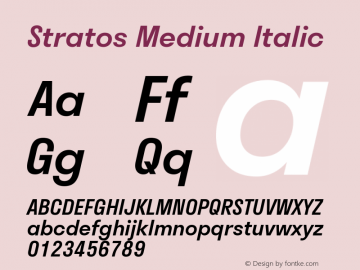 Stratos Medium Italic Version 1.004;PS 1.4;hotconv 1.0.88;makeotf.lib2.5.647800; ttfautohint (v1.3.34-f4db)图片样张