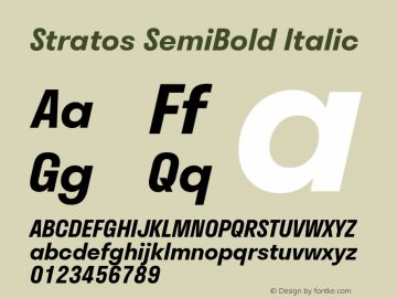 Stratos SemiBold Italic Version 1.004;PS 1.4;hotconv 1.0.88;makeotf.lib2.5.647800; ttfautohint (v1.3.34-f4db)图片样张