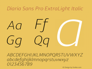 DiariaSansPro-ExtLtIta Version 001.000;com.myfonts.easy.konstantynov.diaria-sans-pro.extra-light-italic.wfkit2.version.4yaG图片样张