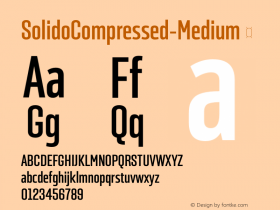 ☞SolidoCompressed-Medium Version 1.001;PS 001.001;hotconv 1.0.56;makeotf.lib2.0.21325;com.myfonts.easy.dstype.solido-compressed.medium.wfkit2.version.3S8A图片样张