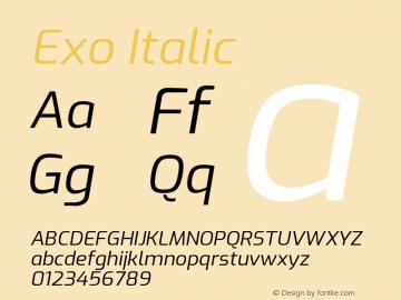 Exo Italic Version 1.500; ttfautohint (v1.6)图片样张
