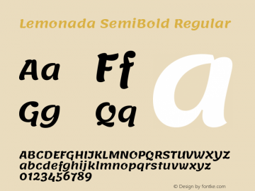 Lemonada-SemiBold Version 3.006图片样张