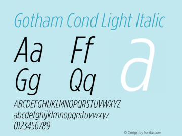 GothamCond-LightItalic Version 3.301图片样张