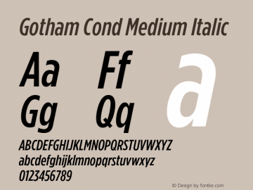 GothamCond-MediumItalic Version 3.301图片样张