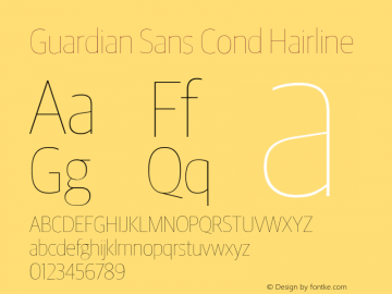 GuardianSansCondHairline Version 1.1 2012图片样张