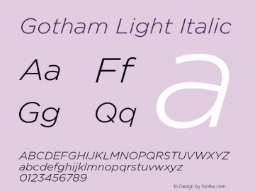 Gotham-LightItalic Version 3.301图片样张