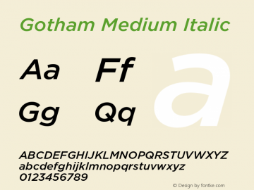 Gotham-MediumItalic Version 3.301图片样张