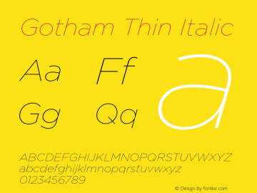 Gotham-ThinItalic Version 3.301图片样张