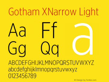 GothamXNarrow-Light Version 3.301图片样张