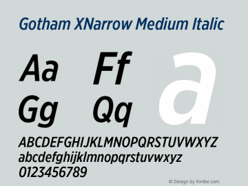 GothamXNarrow-MediumItalic Version 3.301图片样张