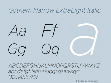 GothamNarrow-XLightItalic Version 3.301图片样张