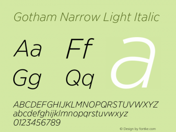 GothamNarrow-LightItalic Version 3.301图片样张