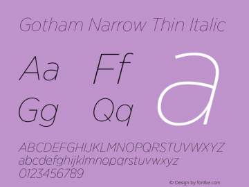 GothamNarrow-ThinItalic Version 3.301图片样张