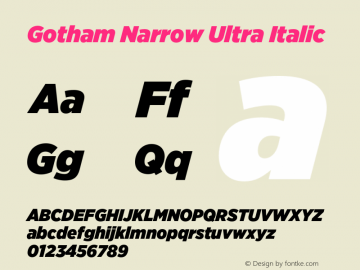 GothamNarrow-UltraItalic Version 3.301图片样张