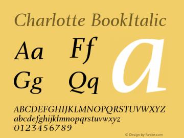 Charlotte BookItalic Macromedia Fontographer 4.1 5/22/01 Font Sample