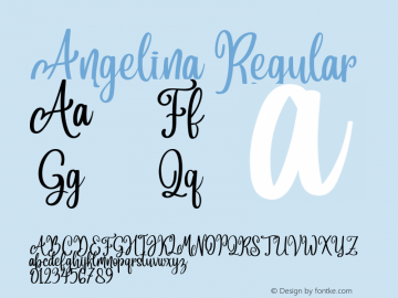 Angelina Version 1.00;September 5, 2018;FontCreator 11.5.0.2427 64-bit图片样张