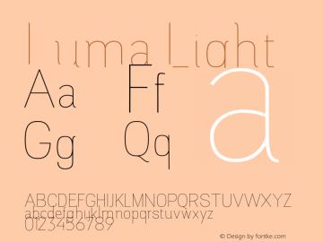 Luma Light Version 1.000;PS 001.000;hotconv 1.0.88;makeotf.lib2.5.64775图片样张